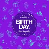 紫色与手图画元素的生日无缝的样式 免版税图库摄影