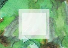 绿色与方形的textholder的水彩粒状大光栅例证 手拉模板,有益于介绍,设计或 免版税库存照片