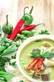 绿色与鸡,普遍的泰国食物的咖喱乳脂状的椰奶 图库摄影