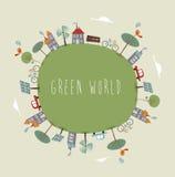 绿色世界逗人喜爱的设计 免版税库存图片