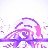 紫色丝带和弓抽象背景 免版税库存图片