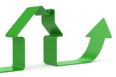 绿色丝带房子 库存例证