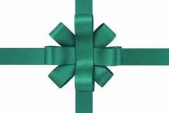 绿色丝带被栓入弓 库存图片