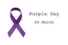 紫色丝带 免版税库存照片