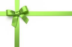 绿色丝绸弓 免版税库存图片