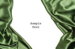 绿色丝绸边界左右 免版税库存图片