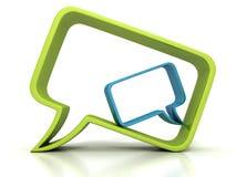 绿色两概念讲话的泡影和蓝色对话象 免版税图库摄影