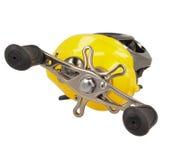 黄色乘算器渔卷轴 库存照片