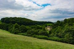 黄色乡间别墅在绿色森林里 免版税库存图片