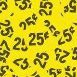 黄色二十五分车库售物贴纸结束看法 库存照片