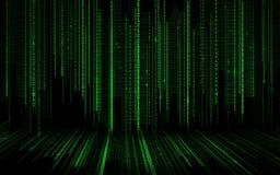 黑绿色二进制代码背景 免版税库存图片