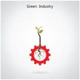 绿色产业概念 小植物和齿轮标志的事务 免版税库存照片