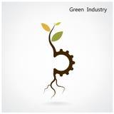 绿色产业概念 小植物和齿轮标志的事务 免版税图库摄影