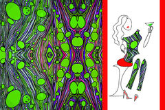 绿色使妇女礼服的织品有大理石花纹 免版税库存图片