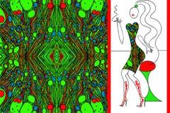 绿色使妇女礼服的织品有大理石花纹 免版税图库摄影