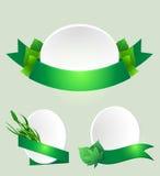 绿色例证叶子丝带被设置的向量 免版税库存图片