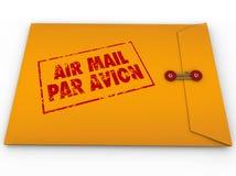 黄色信封航寄邮票同水准Avion快递 库存图片