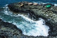 黑色克里米亚dag kara山海运日出视图 免版税图库摄影
