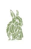 绿色兔子剪影 免版税图库摄影