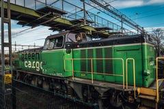 绿色内燃机车 库存图片