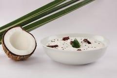 绿色冷颤和椰子酸辣调味品, 免版税库存图片