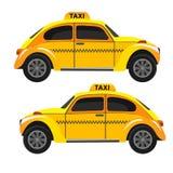 黄色减速火箭的出租汽车 艺术轻的向量世界 库存照片
