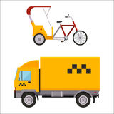 黄色出租汽车卡车varn人力车自行车传染媒介例证汽车运输隔绝了小室城市服务交通象标志 免版税库存照片