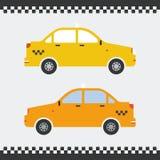 黄色出租汽车汽车平的设计 也corel凹道例证向量 美好的背景 免版税库存图片