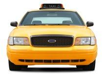黄色出租汽车汽车正面图 免版税图库摄影