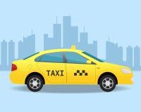 黄色出租汽车汽车 侧视图例证 免版税库存照片