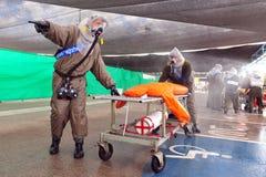 以色列为生物和化工火箭队攻击做准备 库存图片