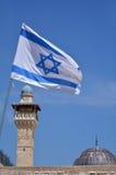 以色列全国flage和阿克萨清真寺在耶路撒冷耶路撒冷旧城我 库存照片