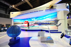 以色列提出他们的3D防御解答的飞机制造业(IAI)在新加坡Airshow 免版税库存照片