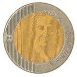 10以色列新的谢克尔硬币-果尔达・梅厄编辑 图库摄影