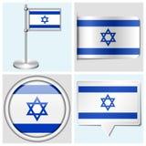 以色列旗子-套贴纸、按钮、标签和fl 免版税库存照片