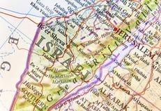 以色列的地理地图有重要城市的 免版税库存照片
