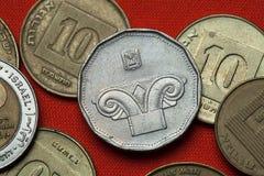 以色列的硬币 离子柱头 库存图片