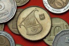 以色列的硬币 里拉琴 免版税库存图片