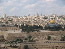 以色列耶路撒冷 寺庙山和清真寺Kubbat的看法Sakhra (斯卡拉的圆顶) 库存照片