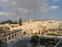 以色列耶路撒冷 寺庙山和阿克萨清真寺的看法 库存图片