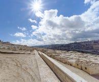 以色列耶路撒冷 - 2月15日 2017年 老犹太公墓的看法 库存图片
