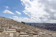 以色列耶路撒冷 - 2月15日 2017年 老犹太公墓的看法 免版税库存图片