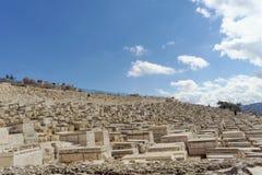 以色列耶路撒冷 - 2月15日 2017年 老犹太公墓的看法 免版税图库摄影