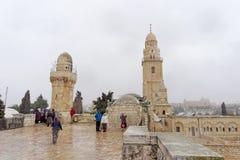 以色列耶路撒冷 - 2月14日 2017年 Dormition的大教堂教会在锡安山的 图库摄影
