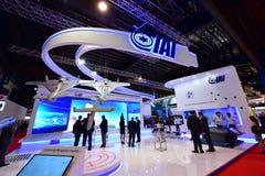 以色列航天工业(IAI)摊在新加坡Airshow 库存图片