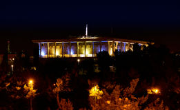 以色列议会(以色列的议会)在晚上 图库摄影