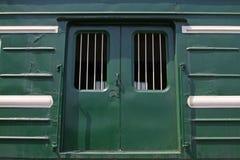 绿色列车车箱 免版税库存图片