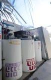 以色列,啤酒舍瓦-新的太阳水加热器在库存 免版税库存照片