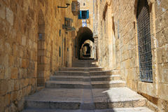 以色列,耶路撒冷,石街道 图库摄影