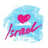 以色列 与水彩字法的抽象卡片 图库摄影